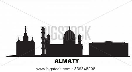 Kazakhstan, Almaty City Skyline Isolated Vector Illustration. Kazakhstan, Almaty Travel Black Citysc