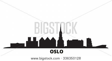 Norway, Oslo City Skyline Isolated Vector Illustration. Norway, Oslo Travel Black Cityscape