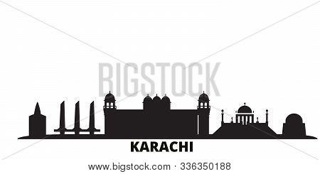 Pakistan, Karachi City Skyline Isolated Vector Illustration. Pakistan, Karachi Travel Black Cityscap