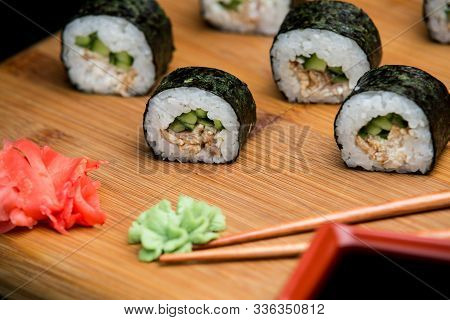 Unagi Maki Traditional Japanese Sushi With Eel.