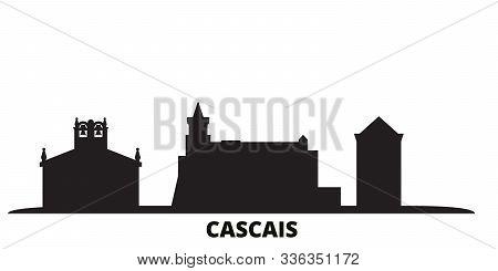 Portugal, Cascais City Skyline Isolated Vector Illustration. Portugal, Cascais Travel Black Cityscap