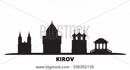Russia, Kirov City Skyline Isolated Vector Illustration. Russia, Kirov Travel Black Cityscape