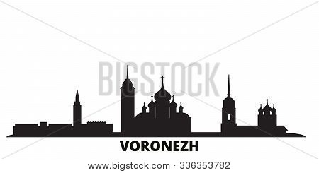 Russia, Voronezh City Skyline Isolated Vector Illustration. Russia, Voronezh Travel Black Cityscape
