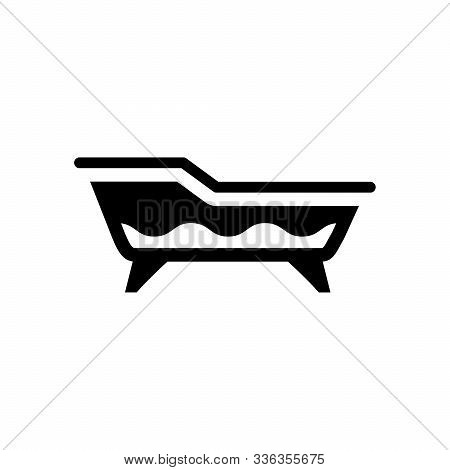 Bath Glyph Icon And Bathroom Equipment Isolated On White. Bathtub Object. Cleanliness, Wash, Bathing