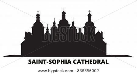 Ukraine, Kiev, Saint Sophia Cathedral City Skyline Isolated Vector Illustration. Ukraine, Kiev, Sain