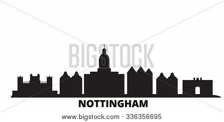 United Kingdom, Nottingham City Skyline Isolated Vector Illustration. United Kingdom, Nottingham Tra