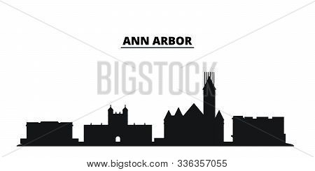United States, Ann Arbor City Skyline Isolated Vector Illustration. United States, Ann Arbor Travel