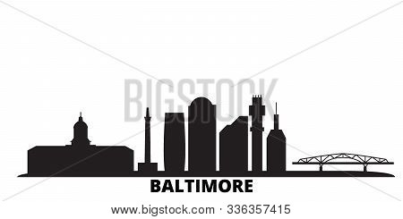 United States, Baltimore City Skyline Isolated Vector Illustration. United States, Baltimore Travel