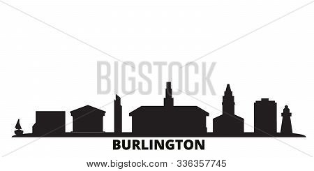 United States, Burlington City Skyline Isolated Vector Illustration. United States, Burlington Trave