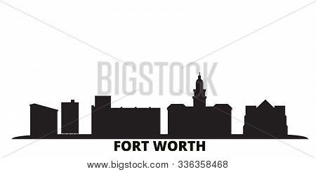 United States, Fort Worth City Skyline Isolated Vector Illustration. United States, Fort Worth Trave