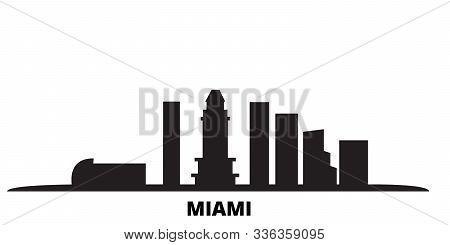 United States, Miami City City Skyline Isolated Vector Illustration. United States, Miami City Trave