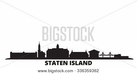 United States, New York Staten Island City Skyline Isolated Vector Illustration. United States, New