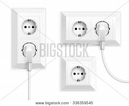 Power Socket Realistic Set With Isolated Images Of Wall Mounted Power Outlets With Electric Plugs Ve