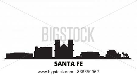 United States, Santa Fe City Skyline Isolated Vector Illustration. United States, Santa Fe Travel Bl