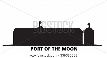 France, Bordeaux, Port Of The Moon Landmark city skyline isolated vector illustration. France, Bordeaux, Port Of The Moon Landmark travel black cityscape poster