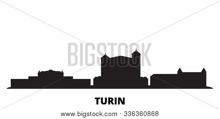 Italy, Turin, Residences Of The Royal House Of Savoy City Skyline Isolated Vector Illustration. Ital