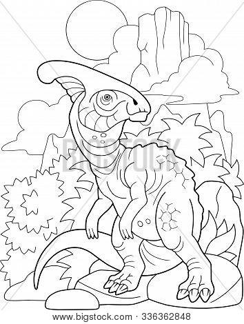 Prehistoric Dinosaur Parasaurolophus, Book Coloring, Contour Picture