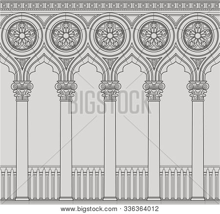 Linear Vector Illustration Of The Venetian Colonnade. Antique Order And Gothic