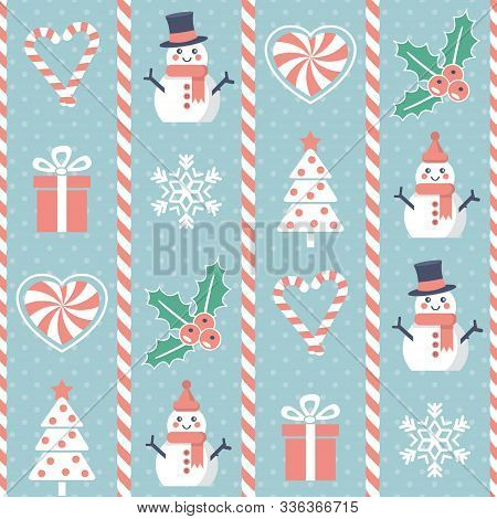 Christmas Pattern. Seamless Vector Illustration With Significant Holiday Symbols