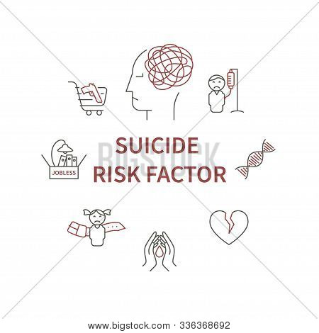 Suicide Risk Factor Circle Infografic. Main Risk Of Suicide In Line Symbol - Child Maltreatment And