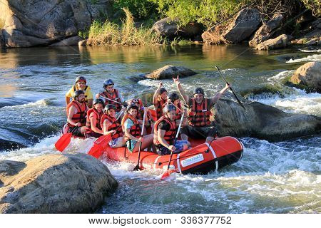 Sun Kosi Near Harkapur / Nepal - August 30, 2018: Whitewater Rafting On The Dudh Koshi In Nepal. Raf