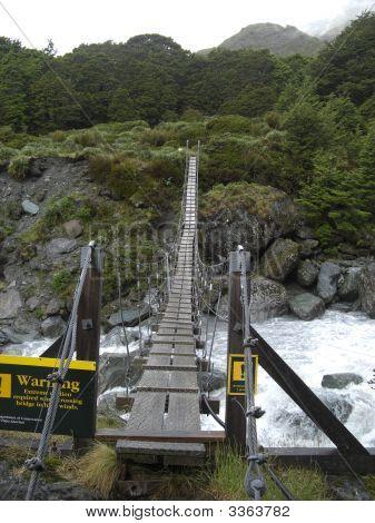 Swing Bridge In New Zealand