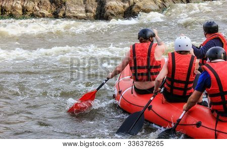 Rafting Team , Summer Extreme Water Sport.  Group Of People In A Rafting Boat, Beautiful Adrenaline