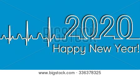 Medical Christmas Fitness Banner, 2020 Happy New Year, Vector 2020 Health Medical Style Wave Heartbe