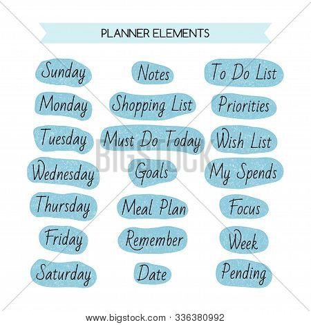 Days Of The Week And Other Names For A Daily, Weekly And Planner. Decorative Elements.