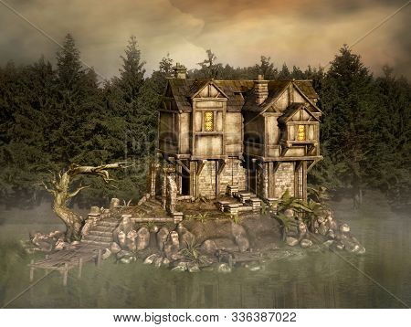 Fantasy Fisherman House In The Middle Of An Enchanted Misty Lake - 3d Illustration
