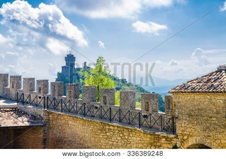 Stone Brick Fortress Wall With Merlons Of Prima Torre Guaita First Tower And Seconda Torre La Cesta