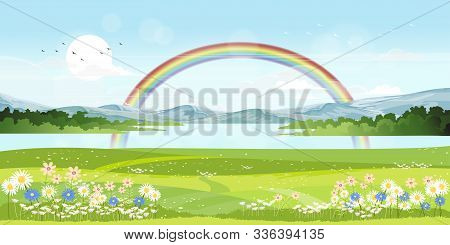 Panorama View Of Spring Village With Green Meadow On Hills With Blue Sky And Rainbow After Rain,vect