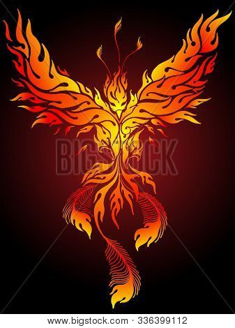 Flaming Phoenix Vector Illustration Ideal For Body Art Or Tattoo
