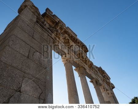 Close Up Of The Restored Temple Of Agonothetes In Ancient Greek City Of Apollonia, Now In Albania. P
