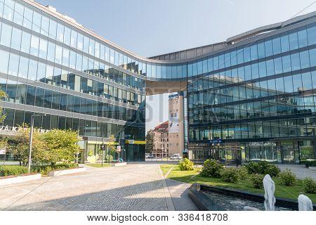 Ostrava, Czech Republic - August 29, 2019: Nova Karolina Park Office Building In Ostrava.