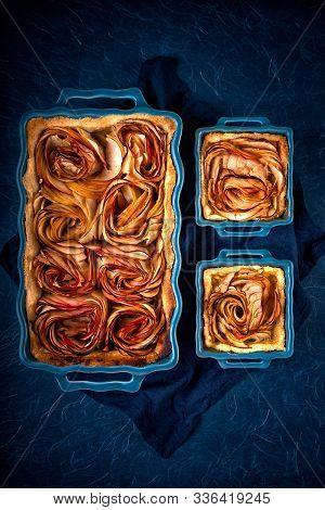 Baked Apple Roses Tart In Waved Blue Ceramic Pans