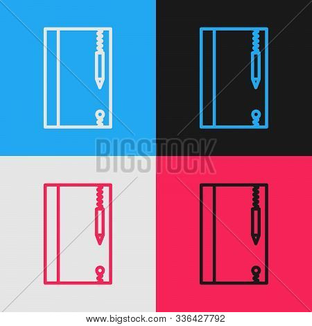 Color Line Underwater Note Book And Pencil For Snorkeling Icon Isolated On Color Background. Water W