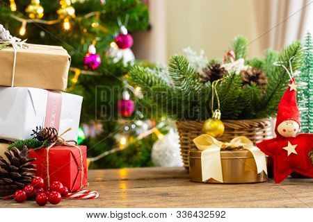 Holiday Christmas Background. New Year And Still Life. Christmas Ornaments Background. Christmas Car
