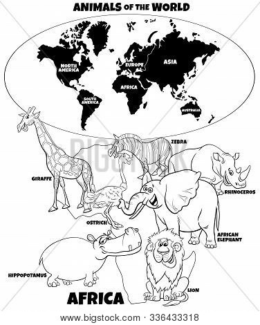 Black And White Educational Cartoon Illustration Of African Animals And World Map With Continents Co