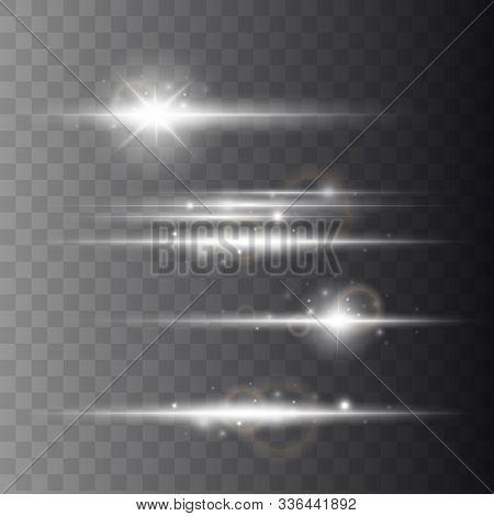 Lens Flars Vector Illustration. Shine Starlight Isolated On Transparent Background. Glowing Light Ef