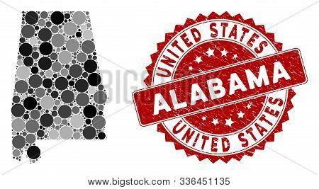 Mosaic Alabama State Map And Circle Stamp. Flat Vector Alabama State Map Mosaic Of Randomized Circle