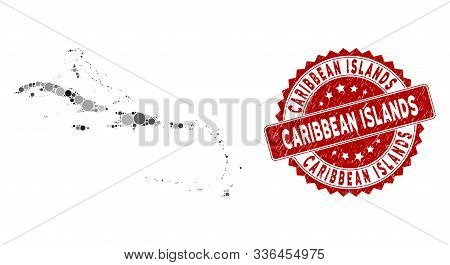 Mosaic Caribbean Islands Map And Round Stamp. Flat Vector Caribbean Islands Map Mosaic Of Scattered