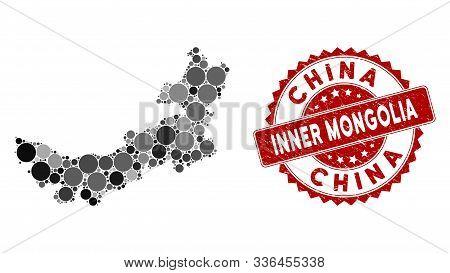 Mosaic Chinese Inner Mongolia Map And Circle Seal Stamp. Flat Vector Chinese Inner Mongolia Map Mosa