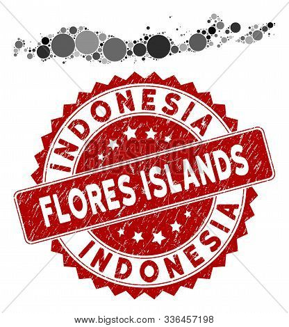Mosaic Flores Islands Of Indonesia Map And Circle Seal Stamp. Flat Vector Flores Islands Of Indonesi