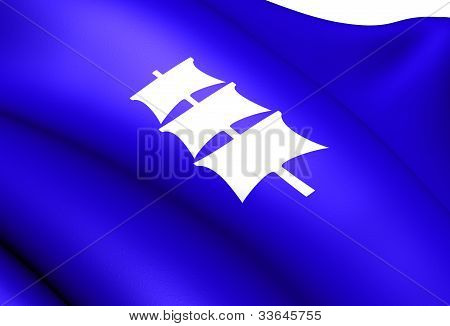 Flag of Larvik Norway. Close Up. Front View. poster
