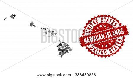 Mosaic Hawaiian Islands Map And Circle Seal Stamp. Flat Vector Hawaiian Islands Map Mosaic Of Random