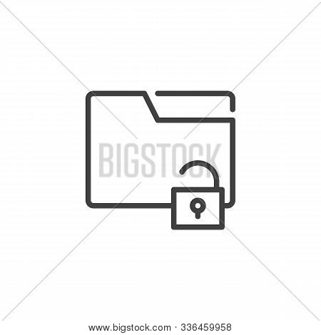 Unlocked File Folder Line Icon. Linear Style Sign For Mobile Concept And Web Design. Data Folder Pro