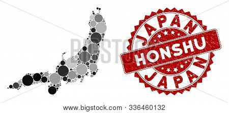 Mosaic Honshu Island Map And Round Stamp. Flat Vector Honshu Island Map Mosaic Of Scattered Round It