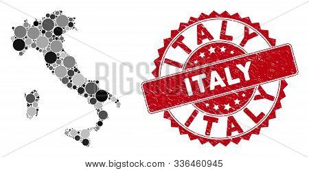 Mosaic Italy Map And Circle Rubber Print. Flat Vector Italy Map Mosaic Of Scattered Circle Elements.