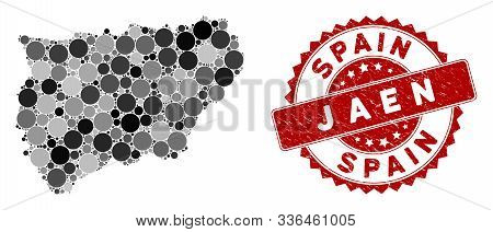 Mosaic Jaen Spanish Province Map And Circle Seal Stamp. Flat Vector Jaen Spanish Province Map Mosaic